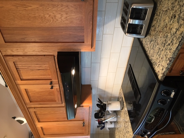 Granite counter with jen-air convection stove